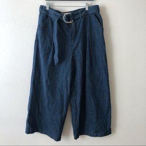 Anthro | Pilcro | Blue Denim Flare Crop Jeans